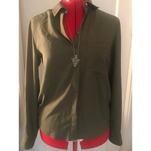 NWT Topshop Olive Button-Down